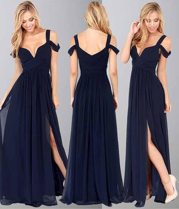 dark blue off the shoulder long slit prom dresses